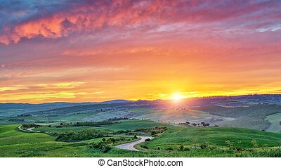 Colorful Tuscany sunrise - Beautiful Tuscany landscape at...