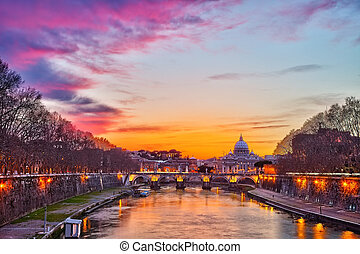 St. Peter's cathedral at night, Rome - Night view of Tiber...