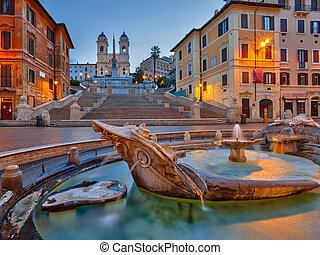 Spanish Steps at dusk, Rome - Spanish Steps at dusk in Rome,...