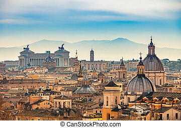 Aerial view on Rome, Italy - View of Rome from Castel...