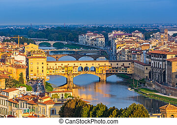 Bridges over Arno river in Florence - Ponte Vecchio over...