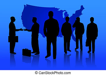 Busines People - Business people gathered on a blue...