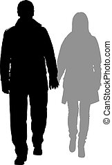 silhouettes of romantic couple on a white background