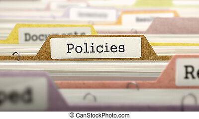 Policies Concept on File Label. - Policies Concept on File...