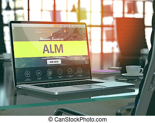 Alm Concept on Laptop Screen. - Alm Concept Closeup on...