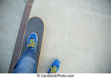 skateboarding legs at skatepark - skateboarding legs at...