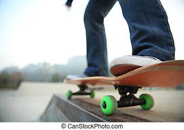 skateboarding legs at skatepark - skateboarding legs at...
