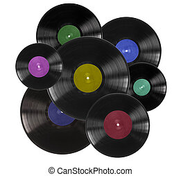 Vinyl records on white - Vinyl records with colorful labels...