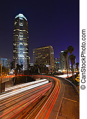 Abstract Timelapse Freeway Traffic at Night in Los Angeles -...