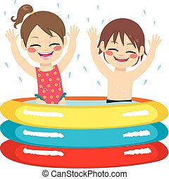 Children Inflatable Pool - Cute little siblings children...