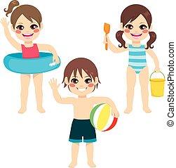 Children Beach Toys - Full body illustration of three happy...