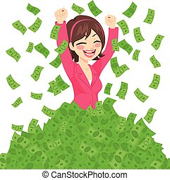 Rich Successful Businesswoman - Happy rich successful...