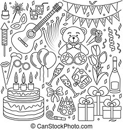 Set of black line icons. Happy birthday and party events....