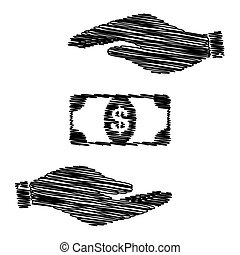 Bank Note dollar sign. Save or protect symbol by hands with...