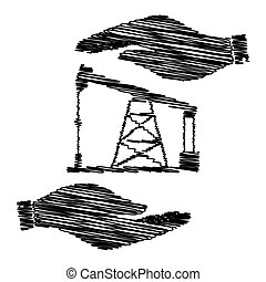 Oil drilling rig sign. Save or protect symbol by hands with...