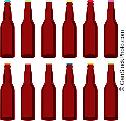 isolated beer bottles set - fully editable vector...