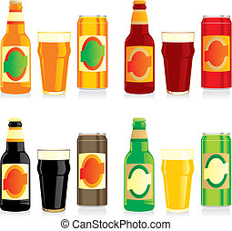 beer bottles, glasses and cans - fully editable vector...