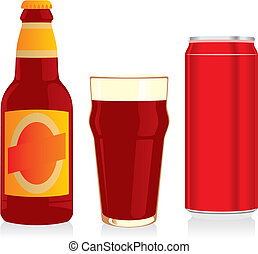 beer bottle, glass and can - fully editable vector...