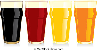 isolated beer glasses - fully editable vector illustration...