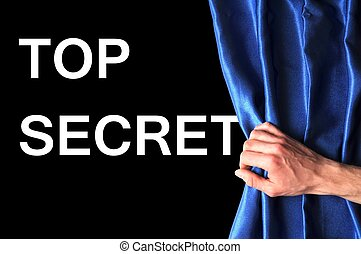 top secret concept with view behind blue curtain