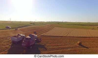 Combine Harvester Unloading Grain Into Trailer - AERIAL VIEW...