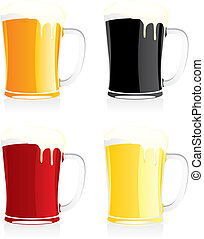 isolated beer mugs - fully editable vector illustration of...