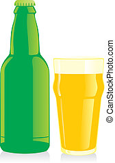 beer bottle and glass - fully editable vector illustration...