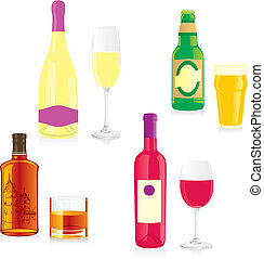 isolated alcohol bottle and glass - fully editable vector...