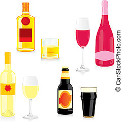 isolated alcohol bottle and glass