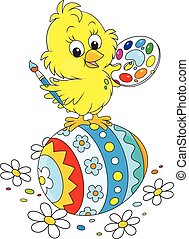 Easter Chick painter - Little yellow chicken painted an...