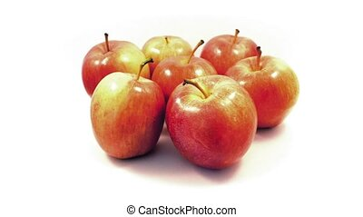 Apples Rotating On Plain Background