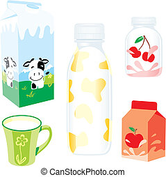 isolated dairy products - fully editable vector illustration...