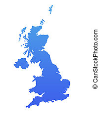 Blue England map - England or United Kingdom map in gradient...