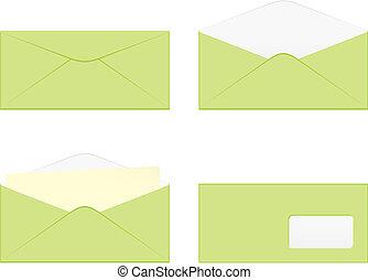 isolated colored envelopes