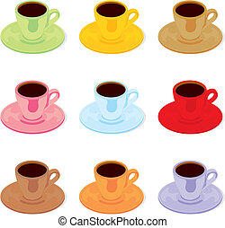 espresso cups and saucers - fully editable vector...
