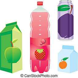 isolated fruit juice recipients - fully editable vector...