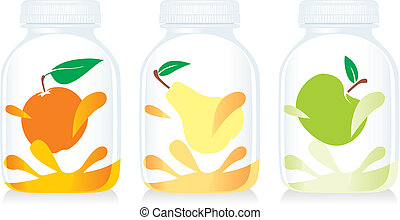 isolated fruit yogurt glass bottles