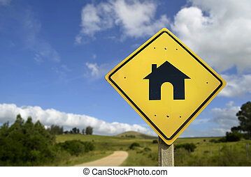 Buy your own house concept icon road sign