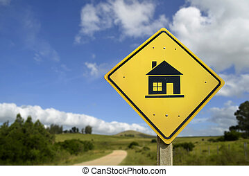 House of your dreams concept icon road sign