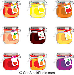 isolated jam jars set - fully editable vector illustration...