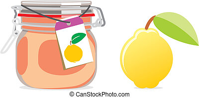 isolated quince jam jar and fruit - fully editable vector...