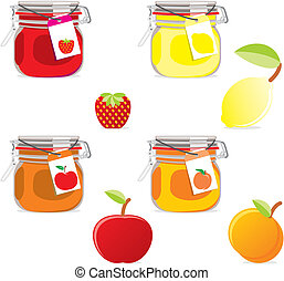 isolated jam jars and fruits