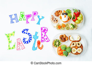 Happy Easter words with school lunch boxes for kids