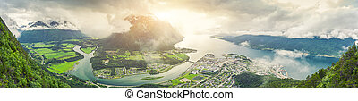 Panoramic view on Andalsnes City, Mountain Landscape and...