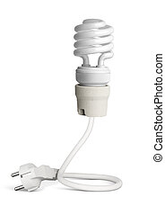 Energy saving light bulb with plug isolated on white, path