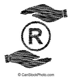 Registered Trademark sign Save or protect symbol by hands...