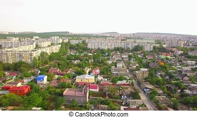 Houses And Buildings In Greenery Of Small Town - AERIAL VIEW...