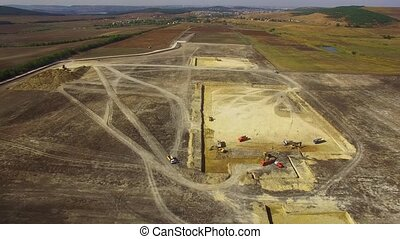 Construction Machinery Preparing Site On Field - AERIAL VIEW...
