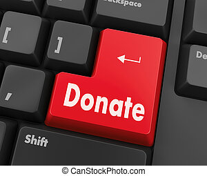 donate button on computer keyboard pc key 3d