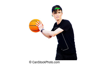 basketball player - Young man basketball player playing with...